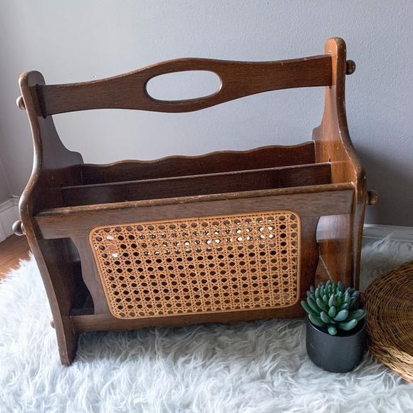 Vintage Wood and Wicker Cane Magazine Rack